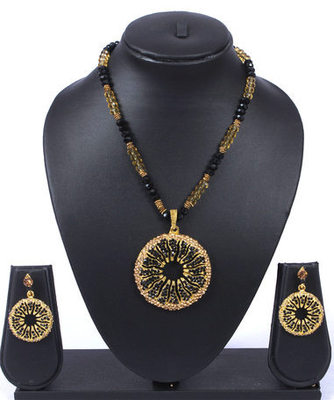 Black Gold Sun Beads Pendant Necklace Set