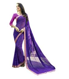 Buy purple printed georgette saree with blouse party-wear-saree online