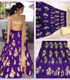 Buy Purple embroidered silk unstitched lehenga punjabi-lehenga online
