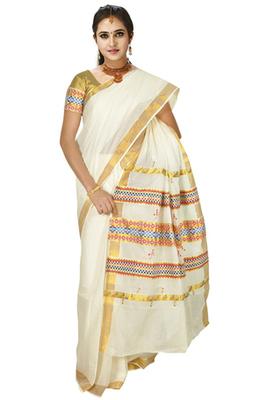 cream colour sarees customised with brocade horizontal multicolour work border.