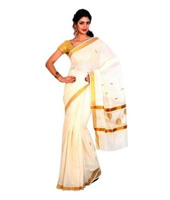 kasavu saree with golden border .