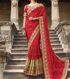 Buy red embroidered net saree with blouse bridal-saree online