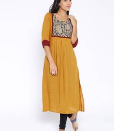 Buy yellow printed cotton  kurti kurtas-and-kurtis online