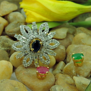 Fashio0ble AD Rings with 3 Color Changable Center Stone