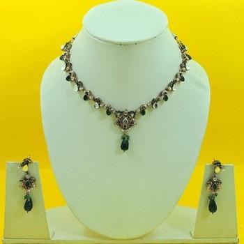 Designer Artificial Green Necklace Set