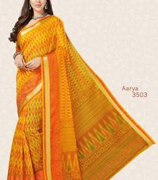 Buy Yellow woven cotton saree with blouse handloom-saree online