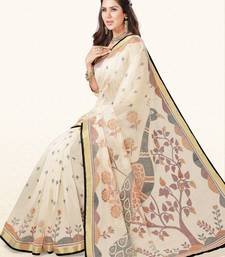Buy Off white woven cotton saree with blouse handloom-saree online