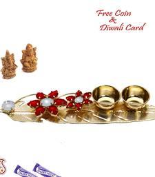 Buy Golden Leaf Shape Designer Pooja Thali Tray diwali-home-decor online