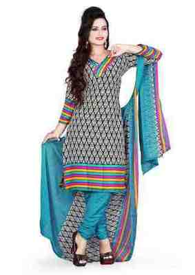 Trendy Multi Color Printed Cotton  Dress Material