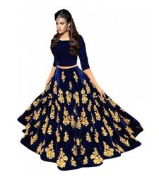 Buy Blue embroidered velvet unstitched lehenga black-friday-deal-sale online