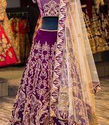 Buy Purple embroidered velvet unstitched lehenga lehenga-choli online