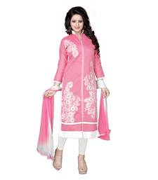Buy Pink embroidered chanderi  salwar with dupatta dress-material online