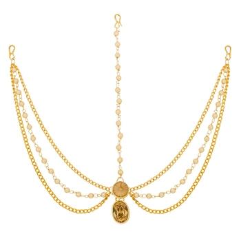 Gold pearl maang-tikka
