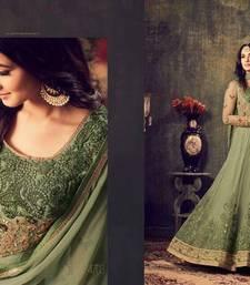 Buy Green embroidered net salwar semi-stitched-salwar-suit online