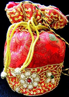 Brocade Beadwork Batwa- Red