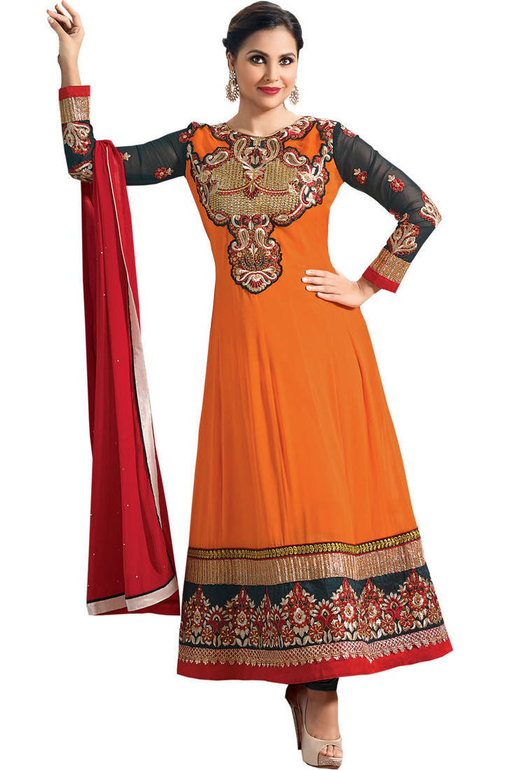 Buy Lara Dutta Orange Designer Neck Floor Touch Anarkali