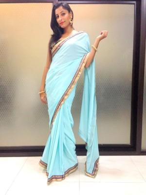 Sky blue crepe saree