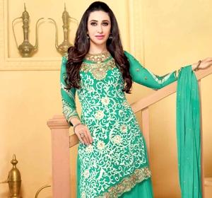 Green embroidered georgette  Semi Stitch party-wear-salwar-kameez