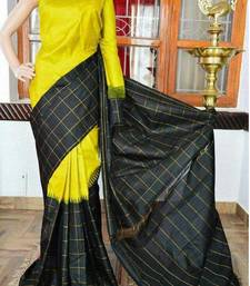 Buy Yellow printed khadi saree with blouse other-saree online