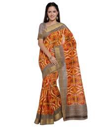 Buy Multicolor printed tussar silk saree with blouse ikat-saree online