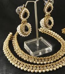 Buy Pearl Anklets & Black colour Earrings jewellery-combo online