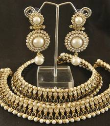 Buy Black colour Pearl Anklets & Pearl Earrings jewellery-combo online