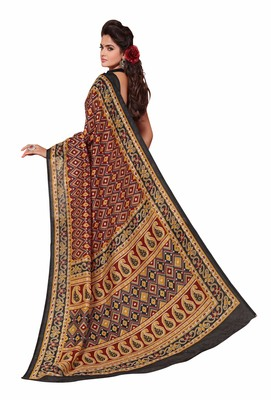 Red printed Mysore Jute and Cotton Linen Blend Silk saree with blouse