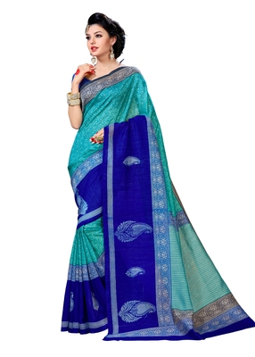 Turquoise printed Mysore Jute and Cotton Linen Blend Silk saree with blouse