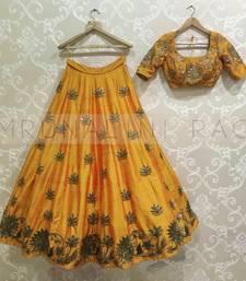 Buy Yellow embroidered dupion silk unstitched lehenga lehenga-choli online