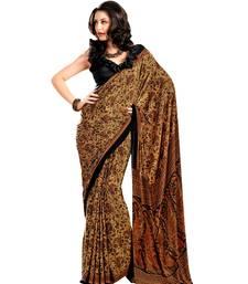 Buy Mustard printed crepe saree with blouse crepe-saree online