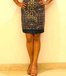 Buy Green Printed Silk Skirt skirt online