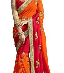Buy Orange And Red Colour Embroidered Chiffon  sequins_work saree With blouse piece party-wear-saree online
