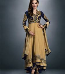 Buy Blue Embroidered Georgette semi stiched salwar suit with dupatta semi-stitched-salwar-suit online