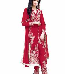 Buy Red Embroidered Faux Georgette semi stiched salwar suit with dupatta semi-stitched-salwar-suit online