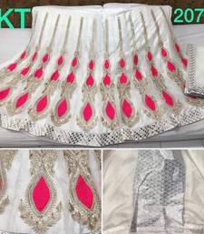 Buy white net embroidered lehenga with dupatta lehenga-choli online