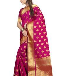 Buy Pink woven cotton silk saree with blouse cotton-silk-saree online