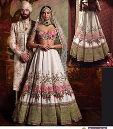 Buy White embroidered silk unstitched lehenga bollywood-lehenga online