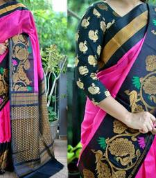 Buy Pink Women's Printed Fancy Bhagalpuri Silk Saree With Blouse bhagalpuri-silk-saree online
