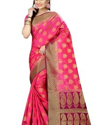 Buy Pink woven nylon saree with blouse hand-woven-saree online