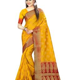 Buy Yellow woven nylon saree with blouse hand-woven-saree online