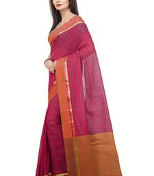 Buy Magenta woven cotton saree with blouse traditional-saree online