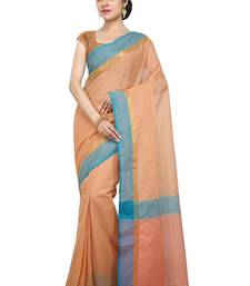 Buy Orange woven cotton saree with blouse traditional-saree online