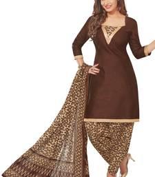 Buy Brown printed cotton salwar with dupatta punjabi-suit online
