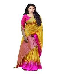 Buy Yellow woven silk saree with blouse art-silk-saree online