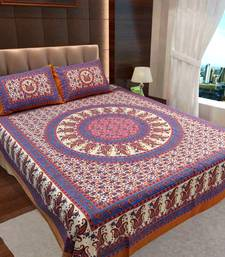 Buy Cotton jaipuri collection cotton double bedsheet with 2 pillow covers bed-sheet online