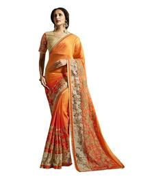 Buy orange embroidered satin saree with blouse satin-saree online