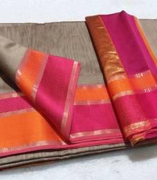 Buy multicolor silk hand woven maheshwari saree with blouse maheshwari-saree online