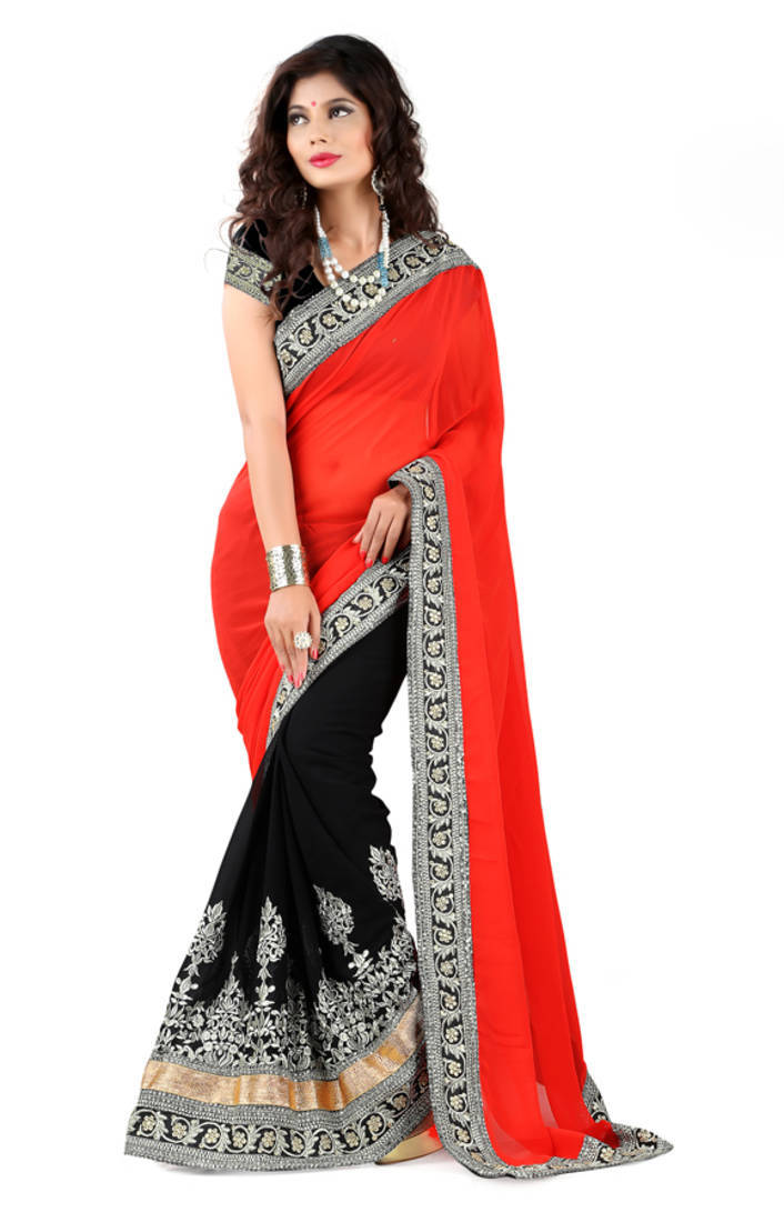 Buy Red And Black Georgette Saree Online