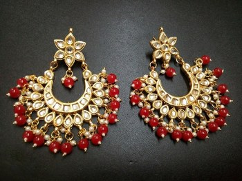 Madiha Red Kundan Chandbali