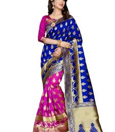 Buy Blue woven banarasi silk saree with blouse black-friday-deal-sale online